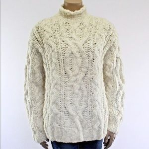 Ralph Lauren Wool Thick Chunky Sweater Cream Cable